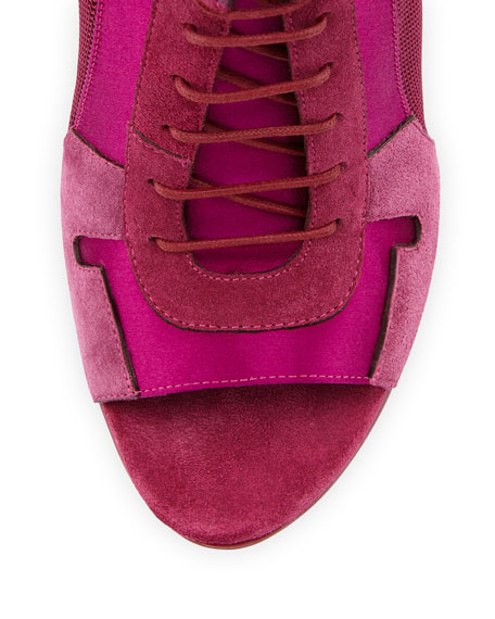 Open-Toe High-Heel Sport Bootie, Plum Pink