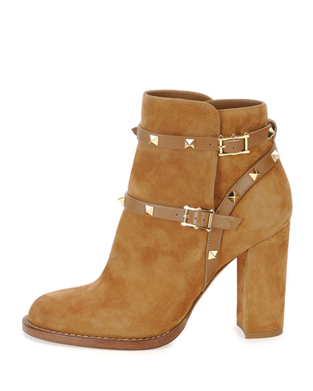 Rockstud Suede Chunky-Heel Boot, Tan