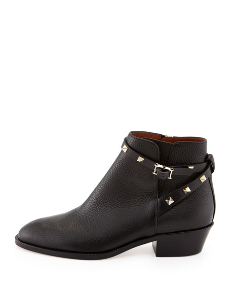 Rockstud Leather 70mm Chunky-Heel Bootie, Nero