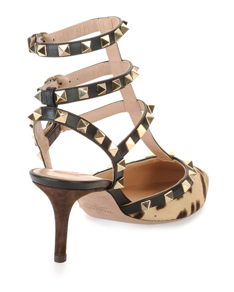 Valentino Garavani Rockstud Calf-Hair Leopard Pumps