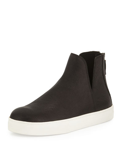 Flash Leather Sneaker Bootie, Black