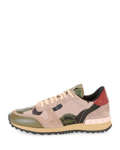 Camo Rockstud Leather Sneaker, Green/Poudre/Nero