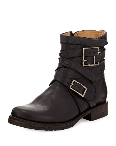 Veronica Strappy Short Engineer Boot, Black