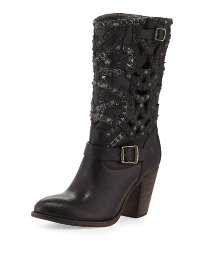 Ilana Studded Laser-Cut Leather Boot, Black