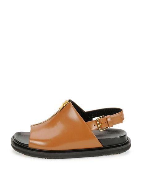Zip-Front Slingback Sandal, Peanut