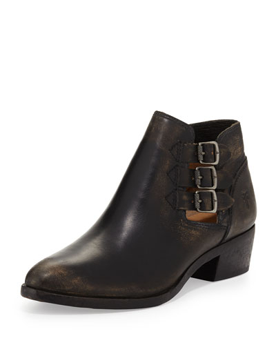 Ray Three-Buckle Ankle Boot, Black