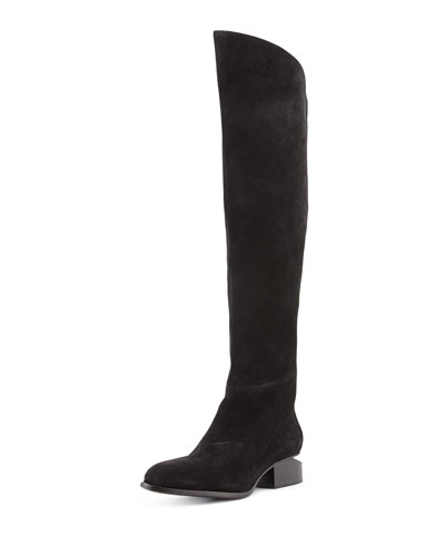 Sigrid Suede Knee Boot, Black