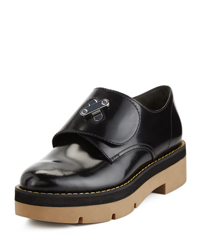 Dillon Leather Platform Oxford, Black