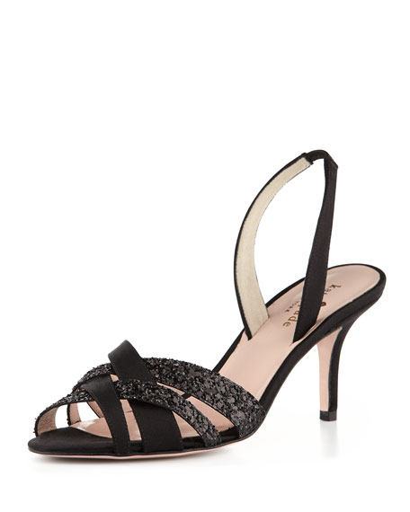 kate spade new york sasha glitter crisscross sandal, black
