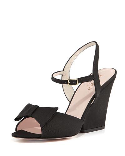 imari twill wedge sandal, black