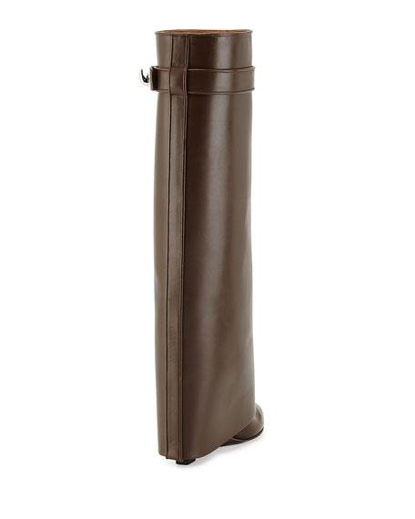 Shark Lock Leather Fold-Over Boot, Dark Brown