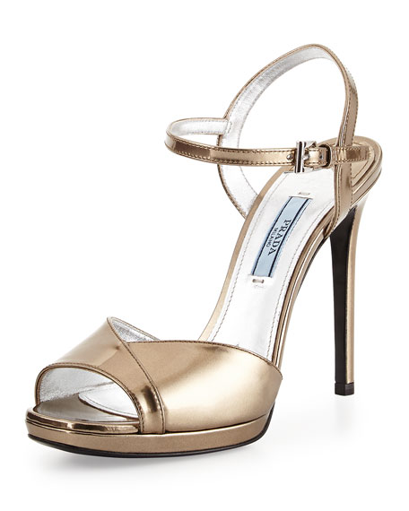 Prada Metallic Leather Ankle-Wrap Sandal, Platino