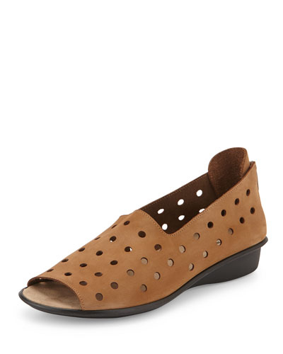 Edwina Perforated Open-Toe Slip-On, Camel