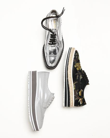 Metallic Wing-Tip Platform Loafer, Silver (Argento)