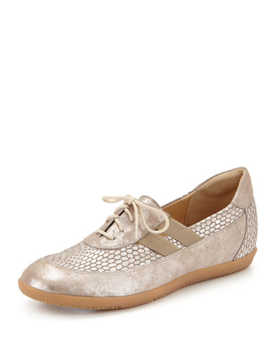 Helen Metallic Leather Lace-Up Sneaker, Taupe
