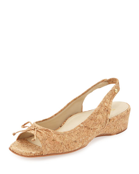 Taryn Rose Karol Demi-Wedge Sandal, Natural