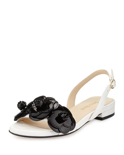 Ida Leather Flower Sandal, White/Black