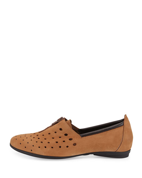 Amberly Perforated Slip-On Flat, Viso Natural