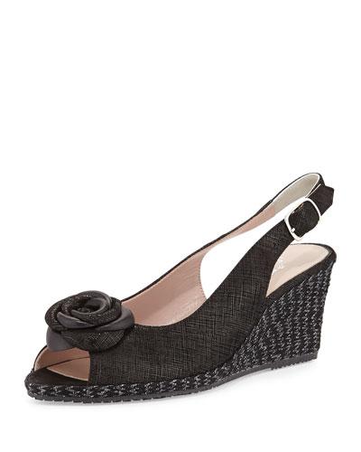 Jahara Printed Suede Slingback Sandal, Black