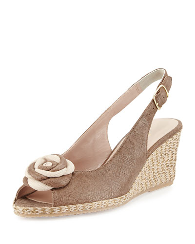 Jahara Flower Slingback Wedge, Noisette