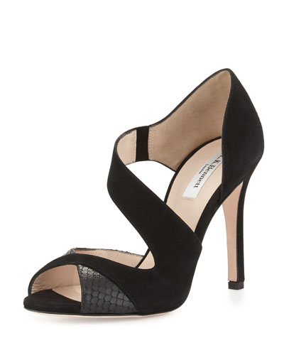 Laura Asymmetric Suede Pump, Black