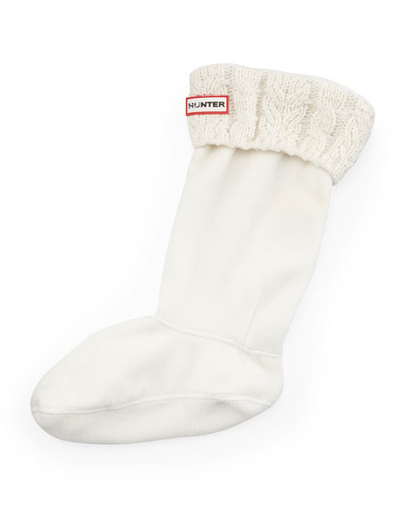 Hunter Boot Six-Stitch Cable Boot Sock, Natural White