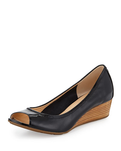 Air Tali Open-Toe Wedge Pump, Black