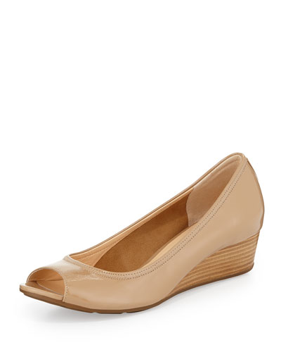 Air Tali Open-Toe Wedge Pump, Sandstone
