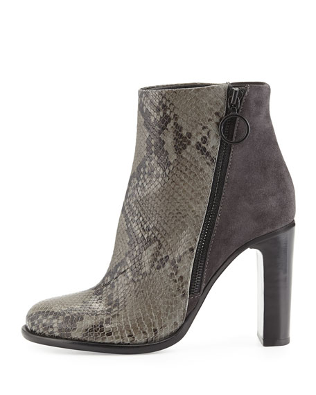 Avery Python-Embossed High Bootie, Asphalt