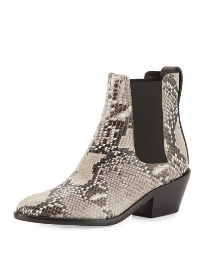 Dixon Slip-On Leather Boot, Fawn Python