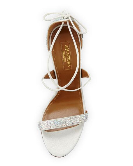 Linda Crystal-Embellished Sandal, Silver