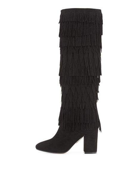 Woodstock Fringed Suede Knee Boot, Black