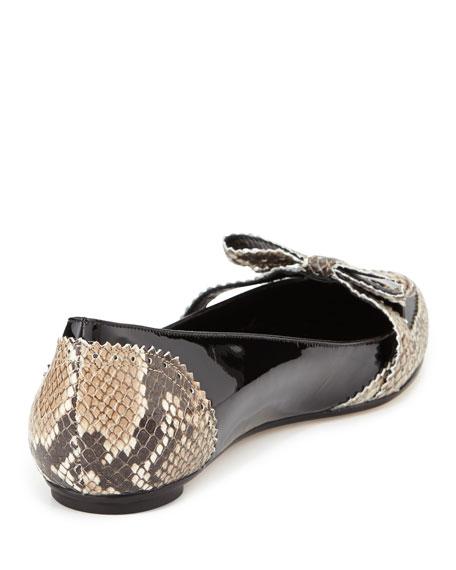 Hennit Snake-Print Brogue Ballerina Flat