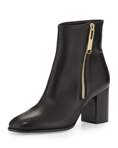 Allen Side-Zip Leather Bootie, Black