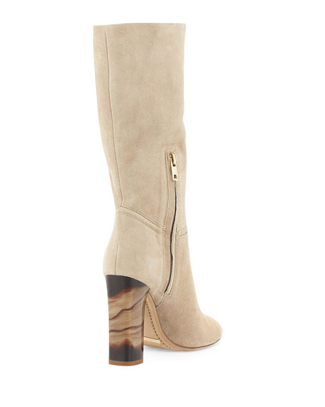 Burberry Block-Heel Scrunch Boot, Sandstone