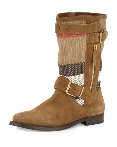 Grantstone Check Moto Boot, Light Oak/Brown