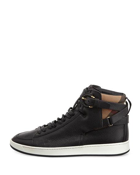Folkington Check High-Top Sneaker, Black
