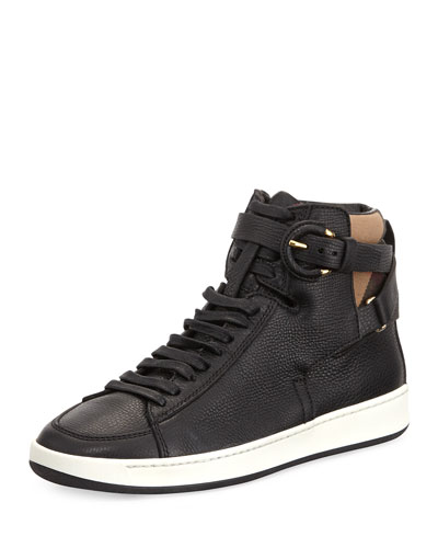 Folkington Check High-Top Sneaker, Black