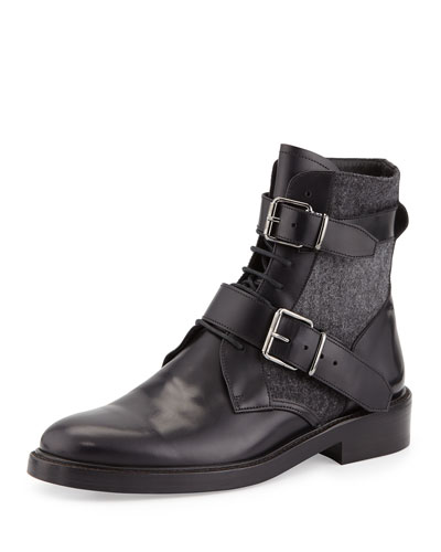 Haldworth Leather & Wool Combat Boot, Black