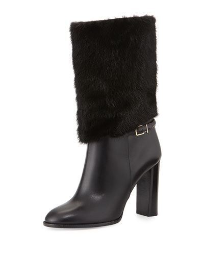 Marlington Fur-Cuff Boot, Black