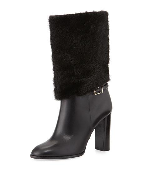 Burberry Marlington Fur-Cuff Boot, Black