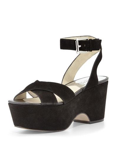 Ariel Suede Platform Sandal, Black
