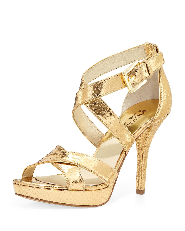 5105006ab1a MICHAEL Michael Kors Evie Metallic Snake-Print Sandal