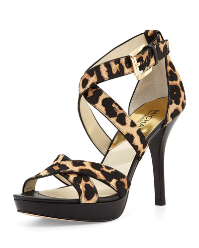 Evie Calf-Hair Sandal, Leopard/Natural