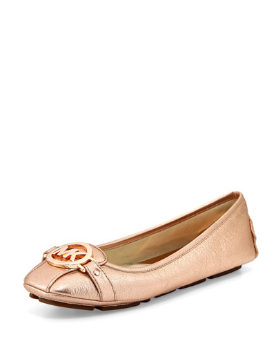 Fulton Metallic Leather Moccasin, Rose-Golden