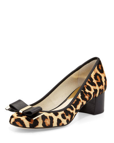Kiera Calf-Hair Bow Pump, Leopard/Natural