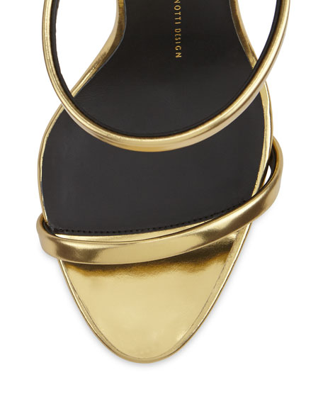 Metallic Three-Strap Evening Sandal, Oro