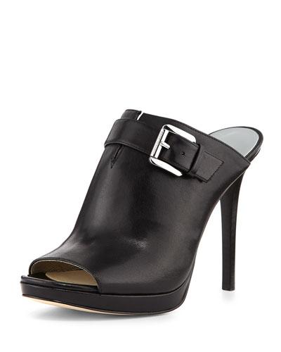 Isabella Leather Mule Pump, Black