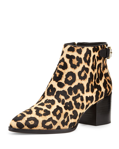 Saylor Calf-Hair Ankle Boot, Leopard/Natural