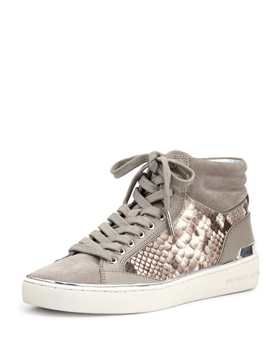 Kyle Leather/Suede High-Top Sneaker, Pearl Gray